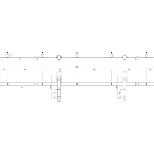 Schuifdeursysteem Basic RVS - Technische tekening