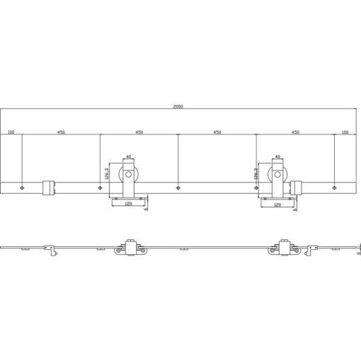 Schuifdeursysteem Basic Top mat zwart - Technische tekening