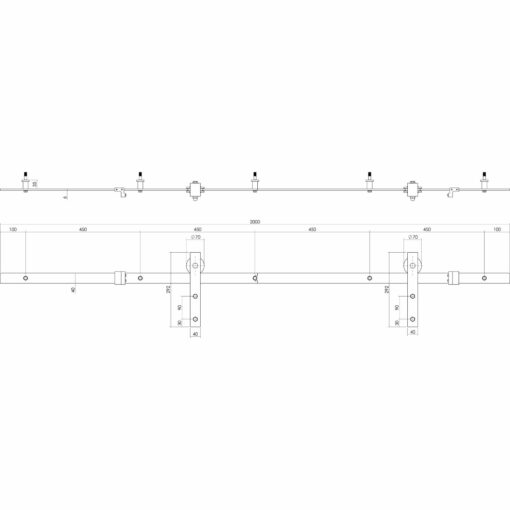 Schuifdeursysteem Basic antiek roest - Technische tekening