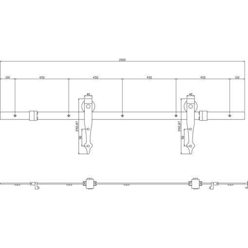 Schuifdeursysteem Classic mat zwart - Technische tekening