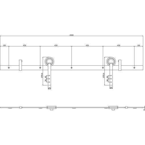 Schuifdeursysteem Modern RVS - Technische tekening