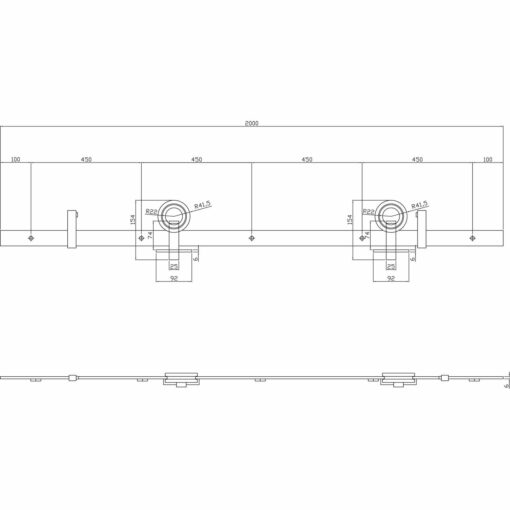 Schuifdeursysteem Modern Top RVS - Technische tekening