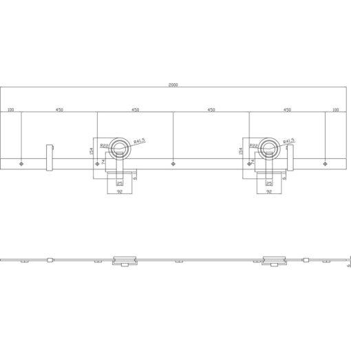 Schuifdeursysteem Modern Top mat zwart - Technische tekening
