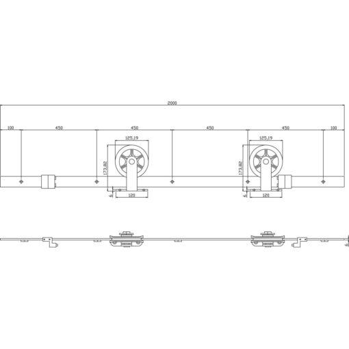 Schuifdeursysteem Wheel Top mat zwart - Technische tekening