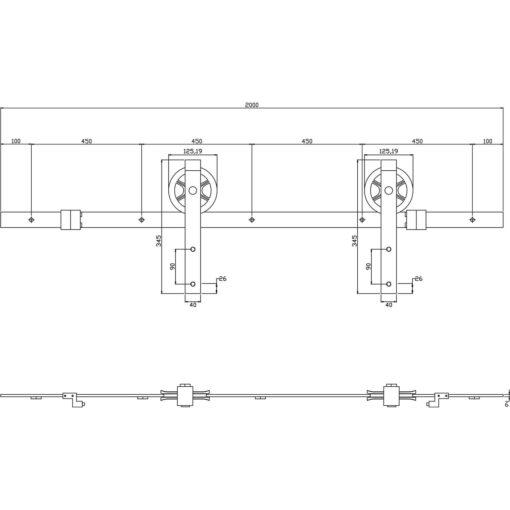 Schuifdeursysteem Wheel mat zwart - Technische tekening