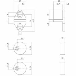 Set geleide -en afstandhouders - Mat zwart - Technische tekening
