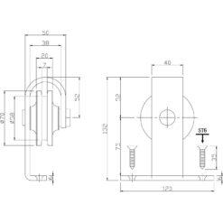 Set van 2 hangrollen 14 cm - Mat zwart - Technische tekening