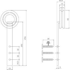 Set van 2 hangrollen 25,5 cm - Mat zwart - Technische tekening