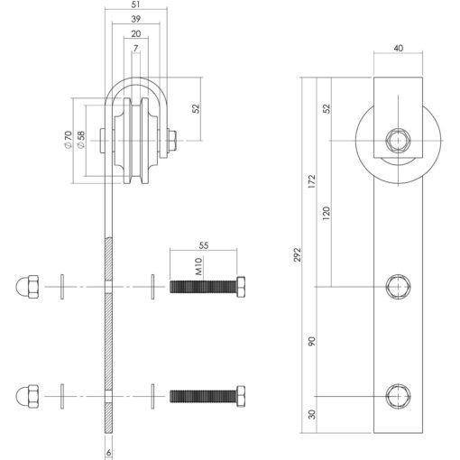 Set van 2 hangrollen 29 cm - Antiek - Technische tekening