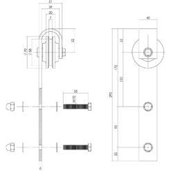 Set van 2 hangrollen 29 cm - RVS - Technische tekening