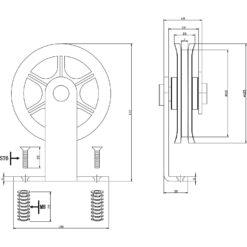Set van 2 hangwielen 17 cm - Mat zwart - Technische tekening