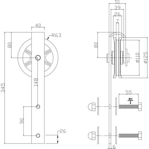 Set van 2 hangwielen 34 cm - Mat zwart - Technische tekening