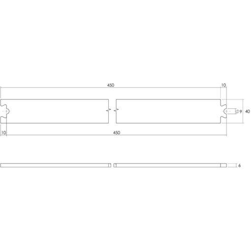 Tussenrail 45 cm - Mat zwart - Technische tekening