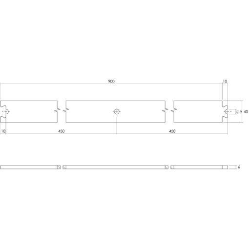 Tussenrail 90 cm - RVS - Technische tekening