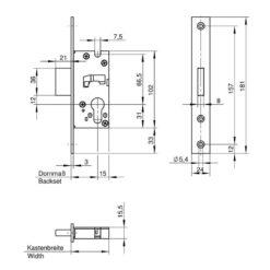 Wilka 1439 nachtslot - Technische tekening