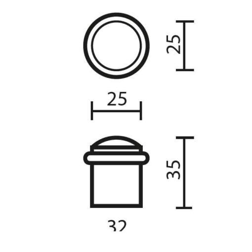 Deurstop Massief - Technische tekening
