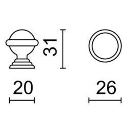 Deurstop Retro - Technische tekening