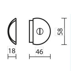 Deurstop halve maan - Technische tekening