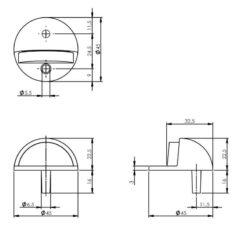 Intersteel Deurstop rond model mat zwart - Technische tekening