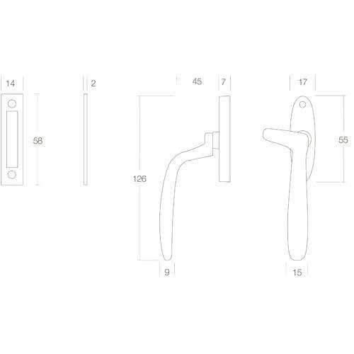 Intersteel Raamsluiting Dudok rechts mat zwart - Technische tekening