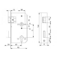 AMF poortslot 142U - Technische tekening