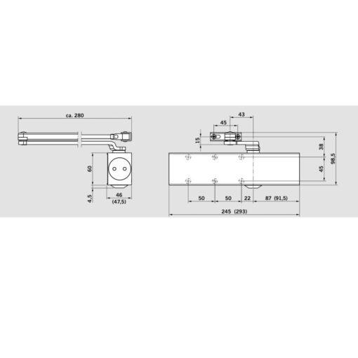 Dorma TS83 deurpomp - Technische tekening
