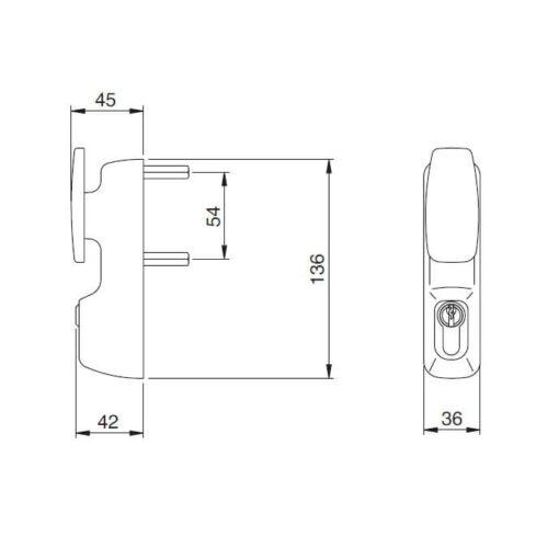 Iseo buitenmodule 94012005T - Technische tekening