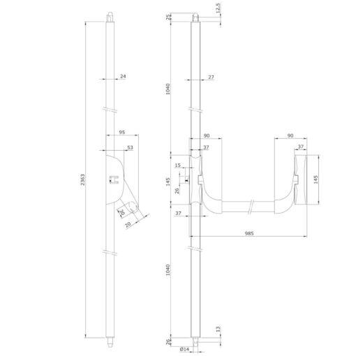 Iseo panieksluiting Idea Bolt Inox - Technische tekening