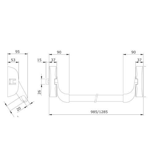 Panieksluiting Iseo Idea Base - Technische tekening