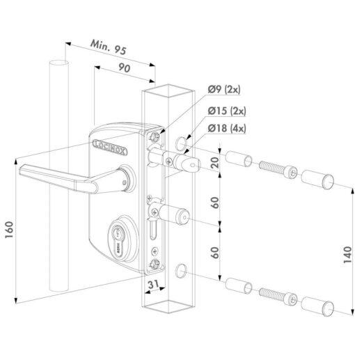 Locinox Poortslot in opbouw LAKQ - Technische tekening