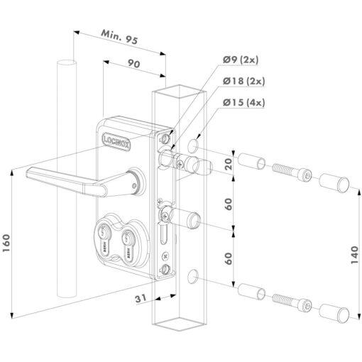 Locinox LDKZ poortslot in opbouw met dubbele cilinder - Technische tekening