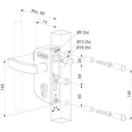 Locinox Lakz tuinpoortslot opbouw - Technische tekening