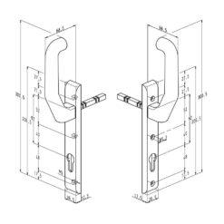Sobinco beslag voor schuifdeuren 824L VI - Technische tekening