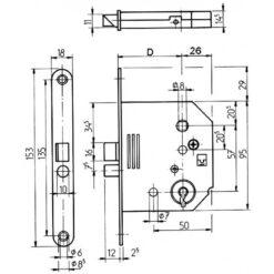 Lips 2132 baardslot voor Bruynzeel slot - Technische tekening