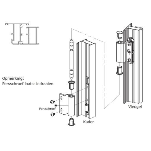 Sobinco 2800-4 scharnier voor buitendraaiende deuren - Montage