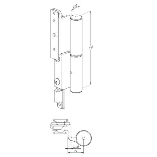 Sobinco 2800-4 scharnier voor buitendraaiende deuren - Technische tekening
