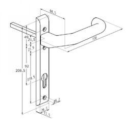 Sobinco 826L veiligheidsbeslag - Technische tekening