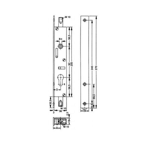 Fuhr 298 stangenslot - espagnolet inbouw 9010282 - Technische tekening