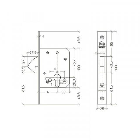 Litto A7632 haakslot voor cilinder - Technische tekening