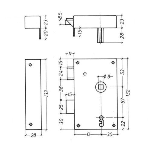 Litto B1112 oplegslot met baardsleutel