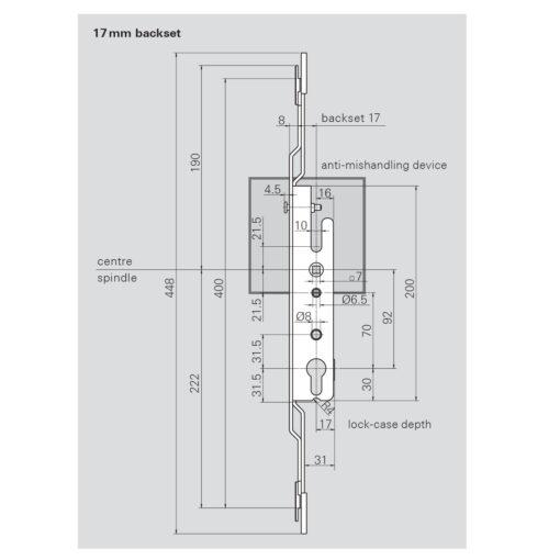 Roto 387934 schuifraamslot 1116 - Technische tekening