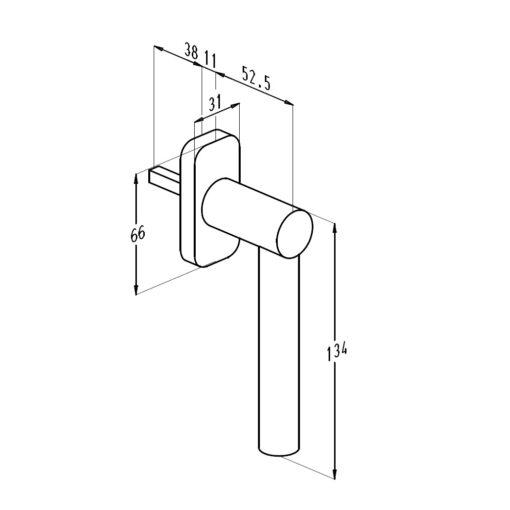 Sobinco 1757 inox raamkruk - Technische tekening
