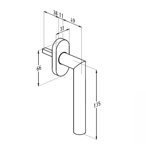 Sobinco 1852 inox raamkruk - Technische tekening