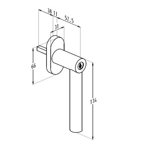 Sobinco 1852CYL inox raamkruk - Technische tekening