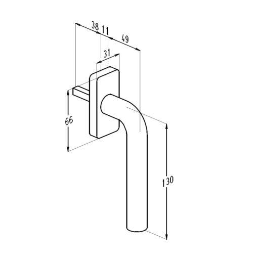 Sobinco 1855 inox raamkruk - Technische tekening