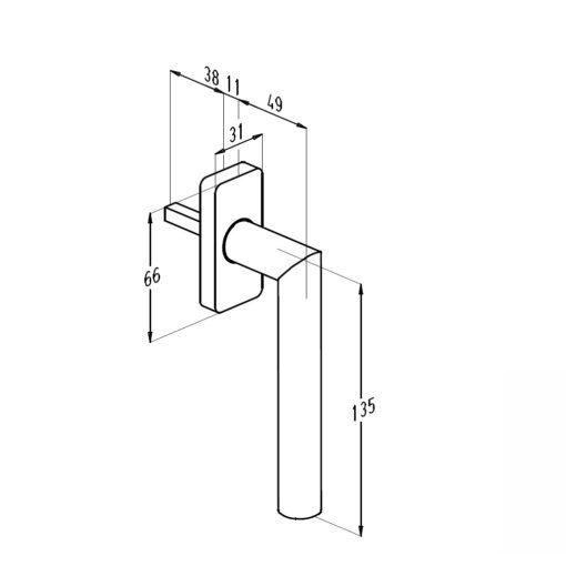 Sobinco 1857 inox raamkruk - Technische tekening