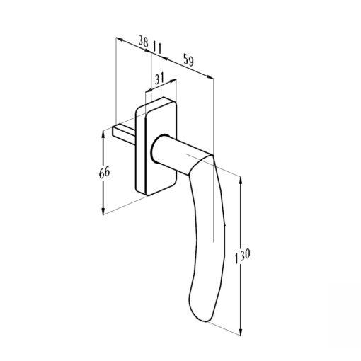 Sobinco 1858 inox raamkruk - Technische tekening