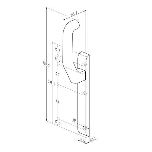 Sobinco 824FCL VI beslag met vaste kruk zonder cilinder - Technische tekening