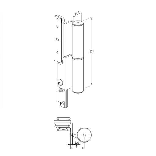 Sobinco scharnier 2800-1 voor binnendraaiende deuren - Technische tekening
