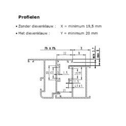Sobinco scharnier 2800-2 voor buitendraaiende deuren - Technische tekening 2